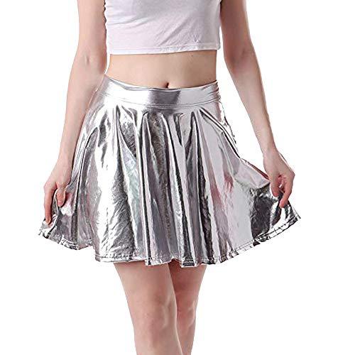 WUSIKY Rock Damen/Teen Mädchen Kleid Leder Flared Plissee A-Line Circle Kostüm Skater Dance Rock Elegant Casual Tutu Röcke Tanzkleid Unterkleid - Teen Dance Kostüm