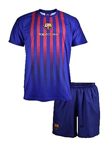 Komplett Offiziell Shirt + Short Fußball Lionel Leo Messi 10 Barcelona Blau Grana Home Saison 2018-2019 Replica OFFIZIELLE mit Lizenz (8 Jahre)