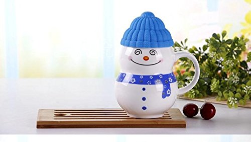 Satyam Kraft Ceramic Snow Man Mug with Silicon Lid Cover Christmas Gift,Diwali Gift(1 Piece) for Kids Mug 300 ml