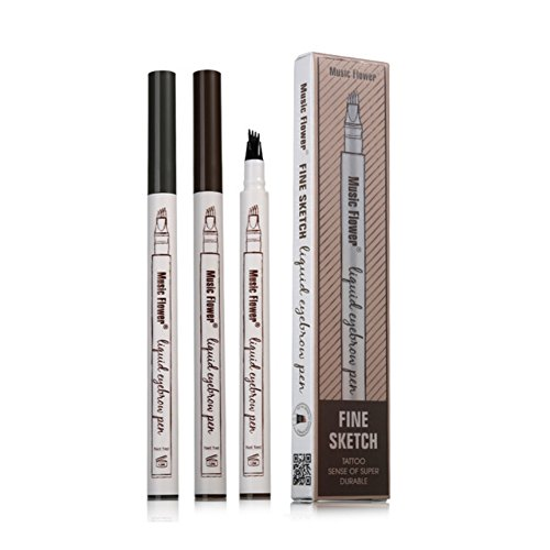 Allbesta Tattoo Augenbrauenstift Fine Sketch Fork Tip Microblading Eyebrow Tint Pen Waterproof Augenbrauen Farben Enhancer Pencil (1 per Pack) (Long-wear Makeup Remover)