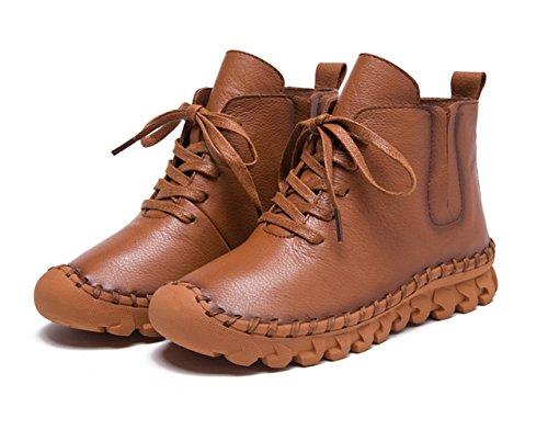 Chaussure de ville femme moderne boots court cuir plat casuel chaussons oxford bout pointu bottes chaude à lacet Brun