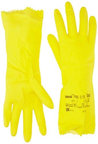 Ansell Universal Plus 87-650 Gants en latex de caoutchouc naturel, protection contre les produits chimiques et les liquides, Jaune, Taille 6.5-7 (Sachet de 12 paires)