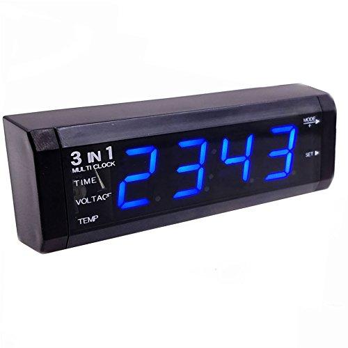 Voltmetro auto 3 in 1 - Batteria di tensione / ora / termometro