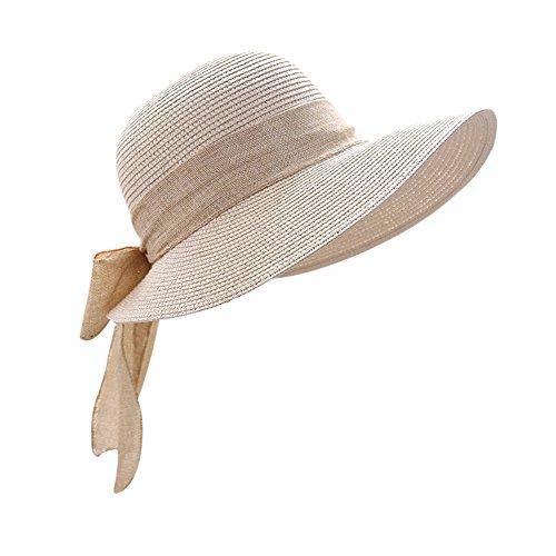 Butterme Frauen Damen Mädchen faltbarer Stroh Sun Hut, breiter Rand Sonnenblende Wannen Hut, Sommer Strand Kappe mit großer Bowknot Dekoration (Beige)