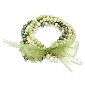 Valero Pearls-Armband Süßwasser-Zuchtperlen jade maigrün pastellgrün 60200115