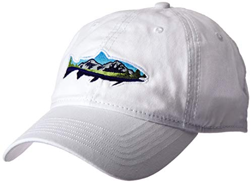 Ouray Sportswear Unisex Epic Washed Twill Cap, White, Adjustable Damen-washed Twill Cap