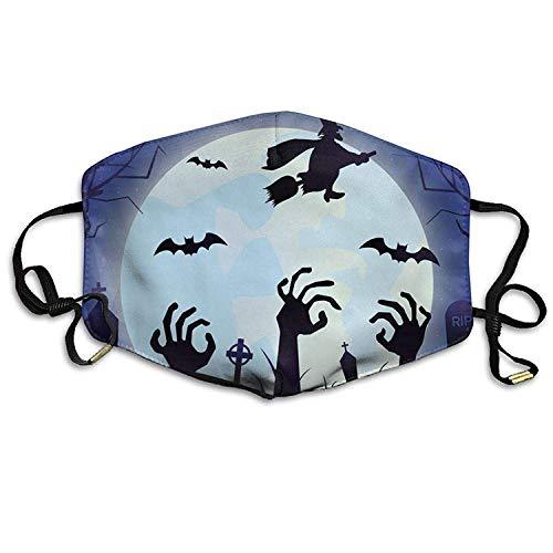 Unisex Happy Halloween Mond Cartoon Zombie Hand Fledermaus Hexe Anti-Staub Mund-Muffel Masken Mund Gesichtsmaske (Halloween Cartoon Happy)