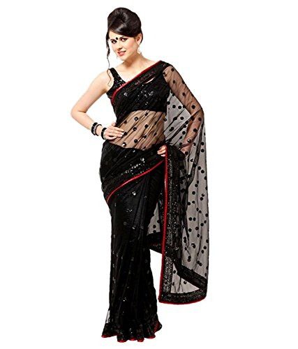 SARGAM FASHION Women's Net Saree With Blouse Piece (Srf-146_Black)
