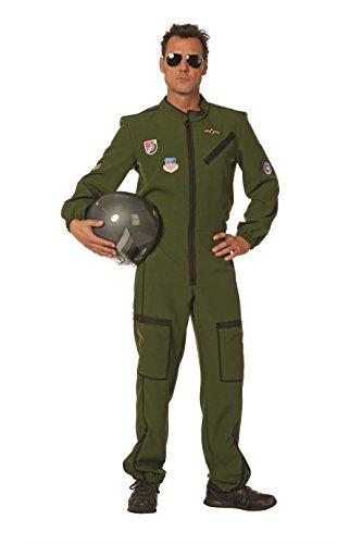 Jet-Pilot Herren-Kostüm Oliv-grün Overall Tarnfarbe Militärunform Armee Army Luftwaffe Marine Karneval Fasching Hochwertige Verkleidung Fastnacht Größe 60 Grün