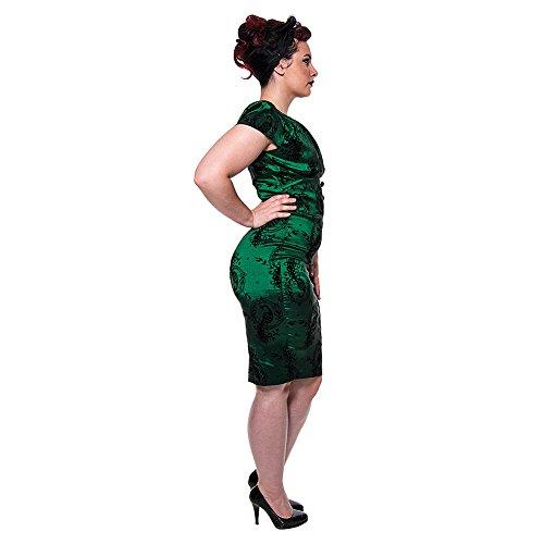 Voodoo Vixen Candy Ann Peacock Taffeta Bleistift Kleid (Grün) – Small - 3