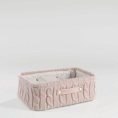 Aufbewahrungskorb Korb Strick 38x26x13 Grau, Rosa oder Weiss, Farbe:Rosa