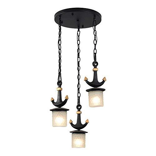 Linear-glas-anhänger (Lincjly Vintage Küche lineare Insel Glas Kronleuchter Anhänger Beleuchtung Fixture-3 Lichter Pendelleuchte, höhenverstellbare Insel Beleuchtung, schwarz und Antik Messing Finish (Size : A))