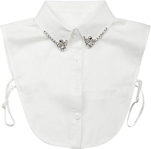 styleBREAKER Blusenkragen Einsatz mit Knopfleiste und Strass, verzierter Kragen für Blusen und Pullover, Damen 08020001, Weiß, Einheitsgröße