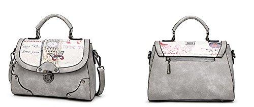 Xinmaoyuan Borse donna retrò Stampa borsa Messenger Bag sacca quadrato piccolo sacchetto,grigio Grigio