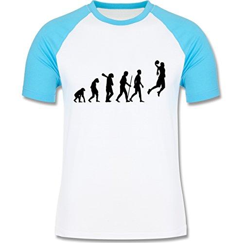 Evolution - Basketball Evolution - zweifarbiges Baseballshirt für Männer Weiß/Türkis