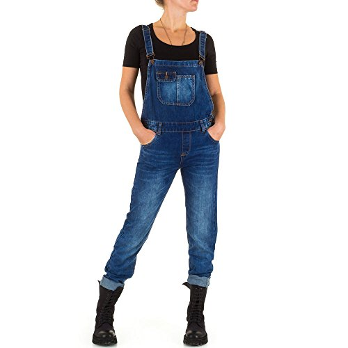 Damen Jeans, USED LOOK RELAXED FIT LATZ JEANS, KL-J-3D69, Blau, XXL/44