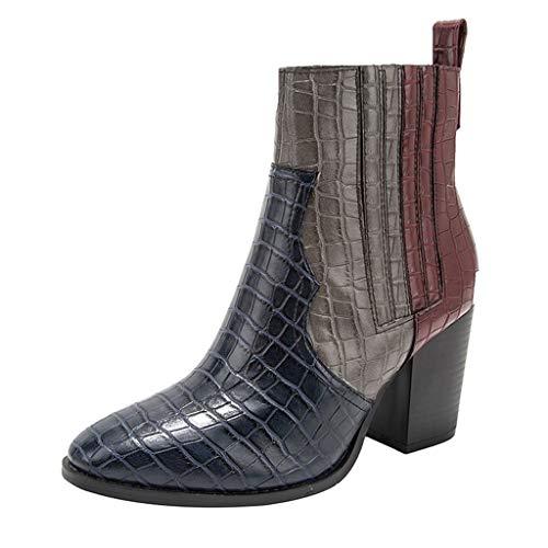 ❤Loveso❤ Damen Casual Vintage Stiefeletten Chelsea Boots Patchwork Stiefel Schlange-Drucken-Mode-Design Stiefel & Stiefeletten mit Blockabsatz Profilsohle (Black 70's Fashion Kostüm)