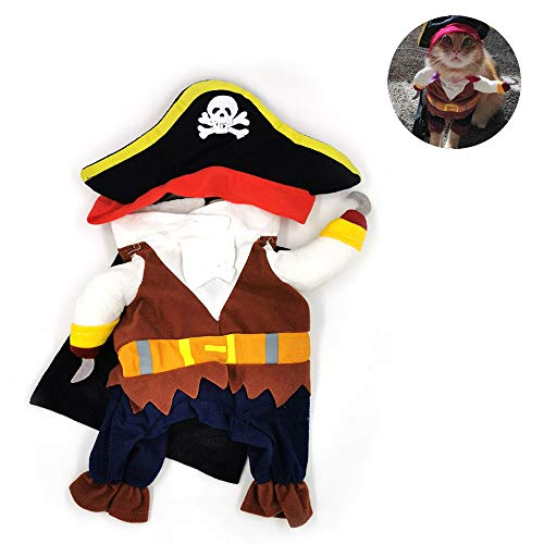 LKIHAH Hundekleidung Niedliches Kleines Hundekleidungs-Piraten-Hundekatzen-Kostüm-Anzug-Pirat Kleiden Oben Partei-Katzen-Hund Plus Hut-Kleidung An Lustiges, - Mensch Hunde Anzug Kostüm