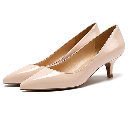 Dimaol Femmes En Cuir Verni Pu Chaussures Automne Printemps Pompe Confort Base Talons Talon Stiletto Centre Pour Casual Et Carrière Argent Nude Nu