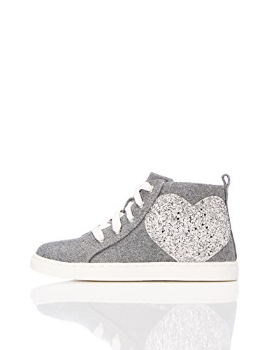 RED WAGON Mädchen Hohe Sneaker mit Glitzer-Herz, Grau (Grey), 26.5 EU