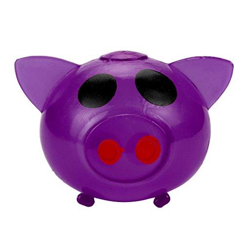 VENMO 1 Stück Anti-Stress-Splat Ball Vent Spielzeug Smash Verschiedene Stile Pig Toys Delightful Tricky Entlüftungs Spielzeug Discharge water pig (Purple)