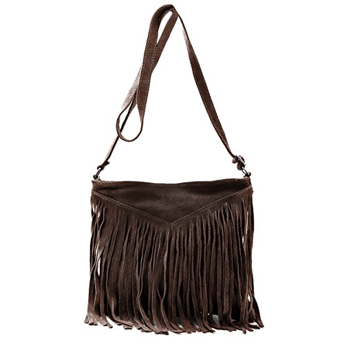 Borse a spalla , Borse a tracolla, sacchetto di frange, in pelle ( 26/ 23/ 2 cm), Mod. 2068 by Fashion-Formel grigio scuro