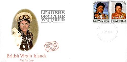 First Day Stamp Cover - Michael Jackson Führer der Welt MNH Paar Unissued Stamps/British Virgin Islands / 1985 -
