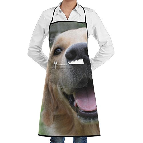 Golden Retriever Dog Smile Schürze Lace Adult Mens Womens Chef Adjustable Polyester Long Full Black Cooking Kitchen Schürzes Bib With Pockets For Restaurant Baking Crafting Gardening BBQ - Smile Dog Kostüm