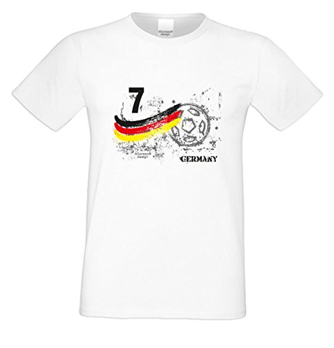 Fußball-Trikot T-Shirt :-: als Geburtstags-Vatertags-Weihnachts-Geschenk für Männer Fußballfans :-: mit Spieler-Nummer & Ball Motiv :-: Farbe: weiss weiß-10