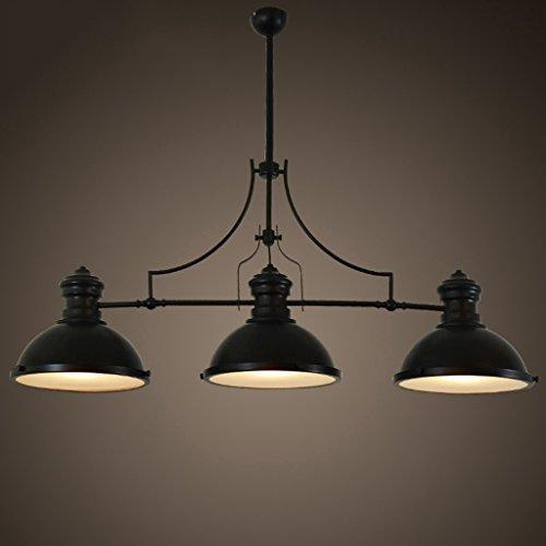 Die Erntesaison Amerikanische Art-Retro- Billard-Lampe Industrieller Wind drei Köpfe Loft-Kronleuchter-Schwarzes -E27 * 3