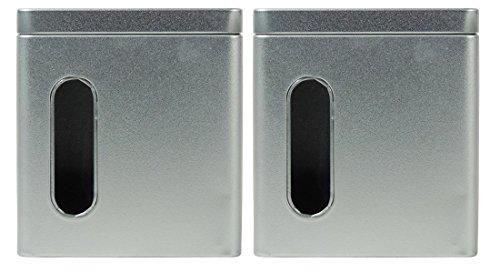 mikken - 2 x Vorratsdose / Teedose eckig & luftdicht für 150g mit Sichtfenster & Steckdeckel, Kaffeedose aus Weißblech (Silber) als Metall-, Gewürzdose & Tabakdose verwendbar (9.5 x 7.5 x 10.5 cm)