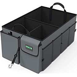 Car Organiser by Drive Auto Products - Storage with Tie Down Straps, Best for Tidy Auto Organization & Boot Maintenance, Non-Slip Secure Travel Tote is Foldable