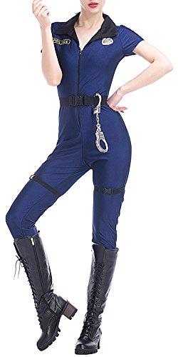 üm Hut Kleid Handschellen Abzeichen Gürtel - Blau Polizeikostüm Halloween Cosplay (Handschellen Halloween)
