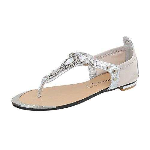 Ital-Design Zehentrenner Damenschuhe Blockabsatz Sandalen Sandaletten Silber Beige P-670