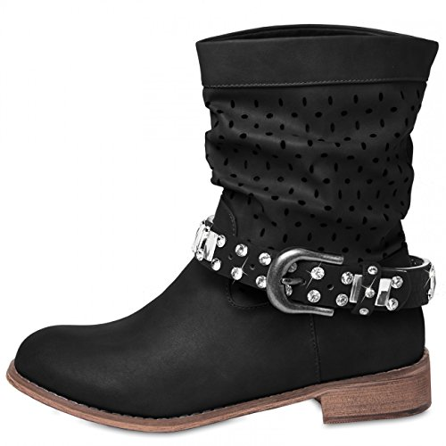 CASPAR - Bijou de botte et chaussure pour femme avec strass - plusieurs coloris - STB011 Noir