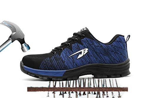 Axcer Herren Damen Arbeitsschuhe Atmungsaktiv Anti-Smashing Einstichresistent Zwischensohle Sicherheitsschuhe mit Stahlkappe Arbeits Berufsschuhe Handwerk Schuhe Schutzschuhe Wanderhalbschuhe Stiefel