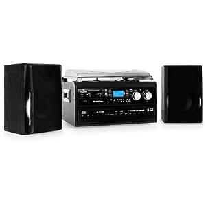 auna chaine stereo hifi complete avec double cd enregistreur cassettes et platine vinyle 33. Black Bedroom Furniture Sets. Home Design Ideas