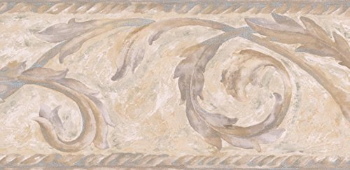 Moderno marrone beige bianco crema carta da parati damascata border vernice di design, roll 15'x 11,4cm