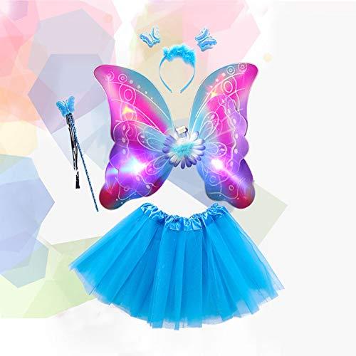 Zantec LED Blinkende Schmetterlingsflügel Kleidung Kinder Zeigen Kostüme -