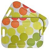 WUMN Bunte Kunststoff Serviertablett Mit Griffen, Rechteckiges BPA-freies Esstablett 42 x 30cm, Servierplatten Tablett - 2er Set
