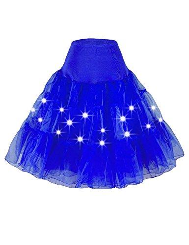 Jueshanzj Damen Ballett Tutu Petticoat Underskirt mit LED-Licht Party Tanz Rock Königs Blau L - 12l Led