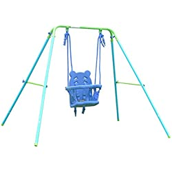 HLC Columpio infantil plegable con asiento de panda 148 CM para 9 a 36 meses,color azul