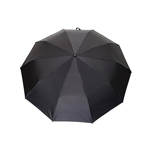 WILLIAM&KATE Bigger Windproof 10 Bone Durable Fully Automatic Three Fold Sunscreen UV Business Pure Black Umbrella