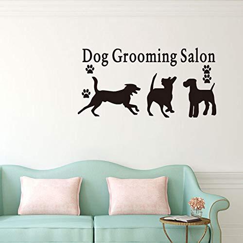 44x87cm playing puppies art wall stickers citazione dog grooming salon pet shop vinile adesivo rimovibile wall tattoo design murale