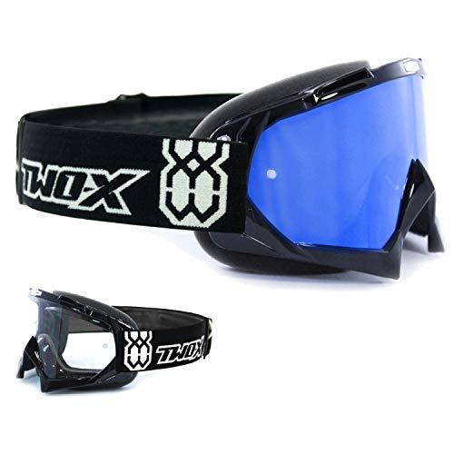 TWO-X Race Crossbrille schwarz Glas verspiegelt blau MX Brille Motocross Enduro Spiegelglas Motorradbrille Anti Scratch MX Schutzbrille