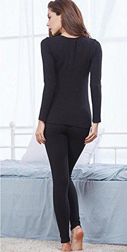 DMMSS Warme Unterwäsche Damen Plus Samt Dicken Winter Weißen Low-Kragen Mit Niedrigem Kragen Aus Reiner Baumwolle Pullover Anzüge a