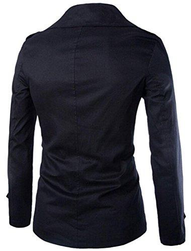 Jeansian Manteau et Blousons Long Homme Hiver Classique Men's Fashion Lapel Double Breasted Long Winter Jacket Coat 9341 Black