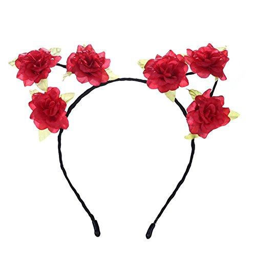 Qinlee Kleine Blume Haarband Haargummis Haarreife Gestylten Haaren Hochzeiten Bankette Party Haarschmuck für Damen Mädchen (Rot)