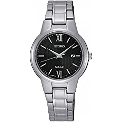 Seiko Solar sut229p1-Analogue-Automatic-black dial-Steel Bracelet Ladies Watch-Grey