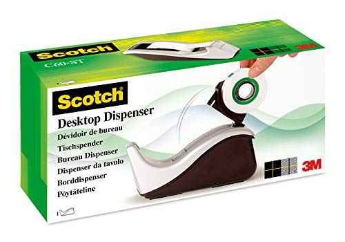Scotch C60, Dispensador de cinta adhesiva, incluye 1 rollo de cinta Scotch Magic, 19 mm x 33 m, plateado/negro